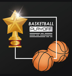 basketball sport balloon and trophy vector image
