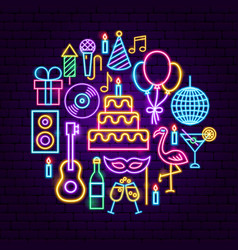 birthday party neon concept vector image