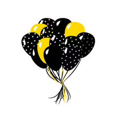 black and yellow in the air balloons vector image