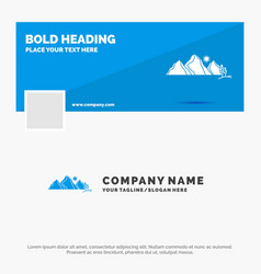 Blue business logo template for hill landscape vector