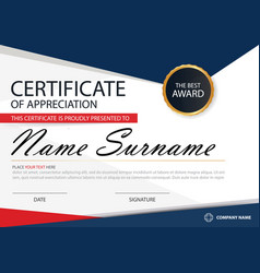 Blue red elegance horizontal certificate template vector