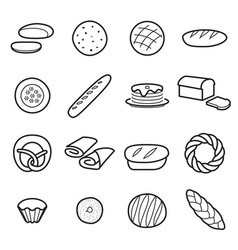 bread icons isolated vector image