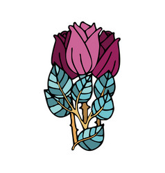 Bunch roses in doodle style with stroke vector