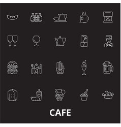 cafe editable line icons set on black vector image