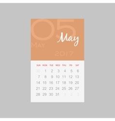 Calendar 2017 months May Week starts Sunday vector