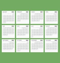 Calendar planner for 2022 template vector