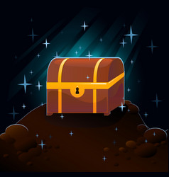 Cave and treasure chest vector