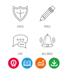 Chat pencil and protection shield icons vector