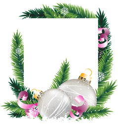 Christmas decorations and pine tree wreath vector