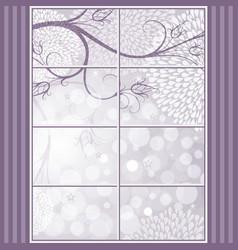 christmas elegant frame with window vector image