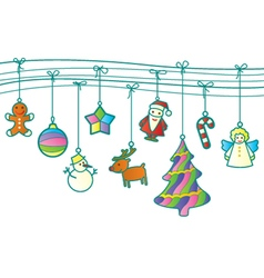 Christmas retro garland vector