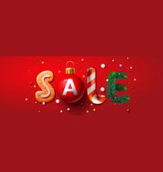 christmas sale banner xmas festive decoration vector image