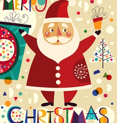 christmas with funny santa claus vector image