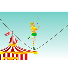 Circus girl on a rope vector