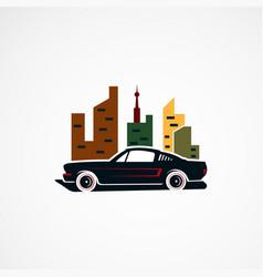city car retro concept logo icon element and vector image