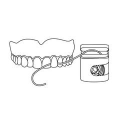 Cleaning teeth with a silk dental floss vector