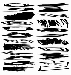 collection ink strokes brush lines spots vector image
