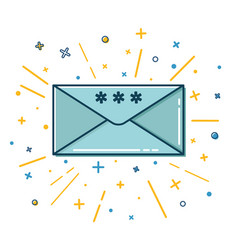 colored christmas mail icon in thin line style vector image