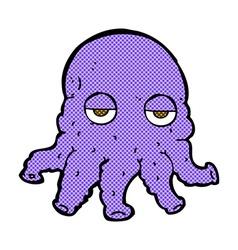 comic cartoon alien squid face vector image