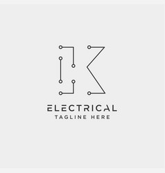 Connect or electrical k logo design icon element vector