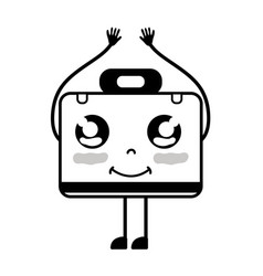 Contour kawaii cute happy briefcase and medical vector