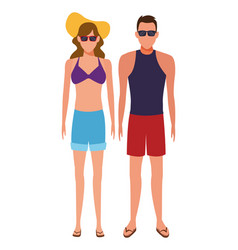 Couple wearing summer clothes vector