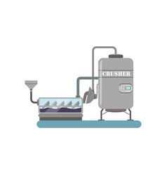 Crushing process winery production equipment vector