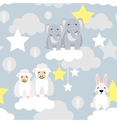 Cute animal kid seamless pattern Elephant vector