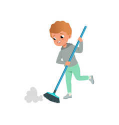 Cute little boy sweeping the floor at home home vector