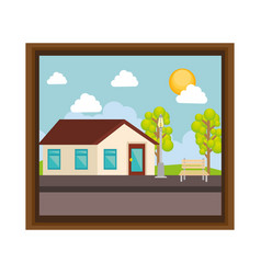 Cute picture with landscape vector