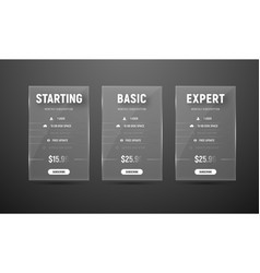 Design glass pricing tables for the website and vector