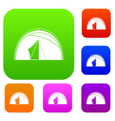 dome tent set color collection vector image