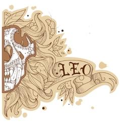 Engraving lion vector