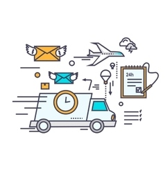 Fast Delivery Concept Icon Flat Design vector image