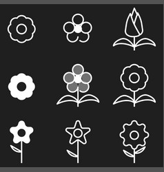 Flower icons set white outline vector