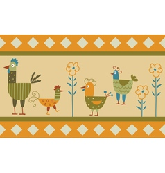 Funny hen background vector image