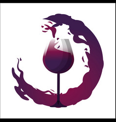 Glass splashing with bubble of wine icon vector