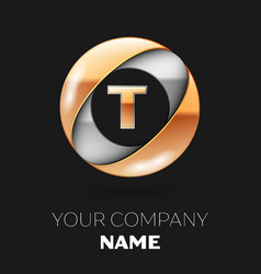 golden letter t logo in the silver-golden circle vector image