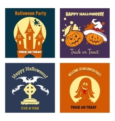 Halloween party flat posters vector image