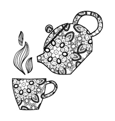 Hand drawn Teapot and cup Zentangle tea vector