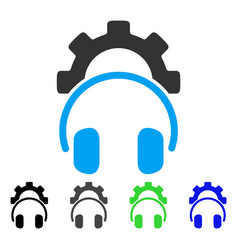 Headphones configuration gear flat icon vector