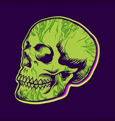 hippie green skull texture vector image