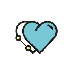 Icon twins heart pen tool style blue vector
