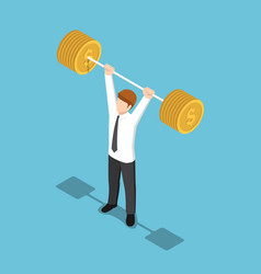 isometric businessman lifting barbell coins vector image