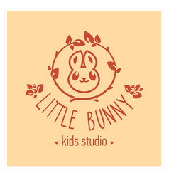 Kids club logo with bunny cute kindergarten sign vector