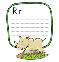 Little rhino for ABC Alphabet R vector image