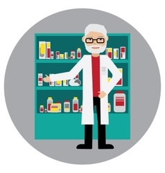Male pharmacist in a pharmacy opposite the shelves vector image
