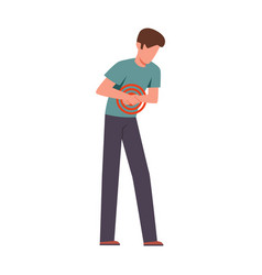 Man suffering from abdominal pain male young vector