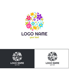 Many flowers logo one vector