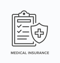 medical insurance flat line icon outline vector image